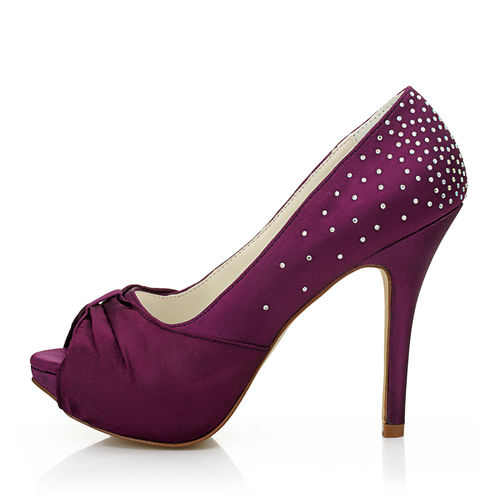 WR-145-4 12cm high height Purple color wedding shoes bridal shoes