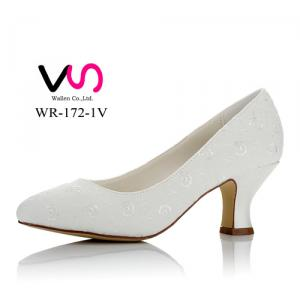 WR-172-1V 6cm Heel Height Bridal Shoes with Embroidery Lace