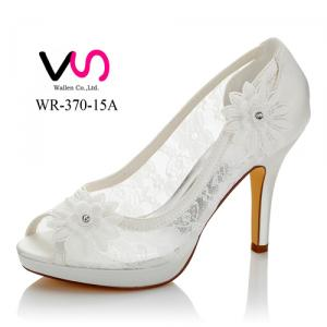 WR-370-15A 10cm with 1.5cm Lace Mesh see throught Bridal Wedding Shoes