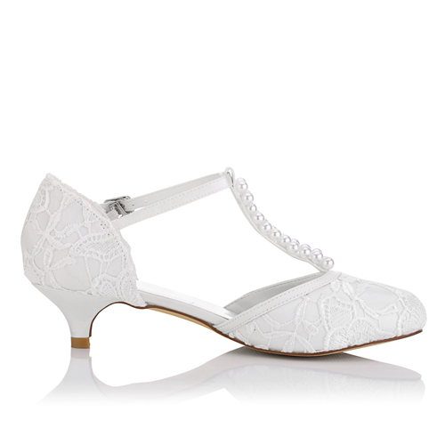 WR-011-29 Low Heel Bridal Shoes with Pearls decoration