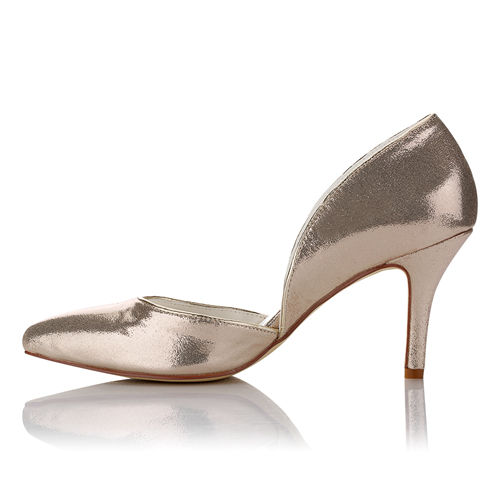WR-162-35 Gold Color PU Leather Party Shoes by middle heel 8cm