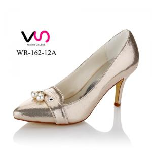 WR-162-12A Light gold Pump party shoes with pearls