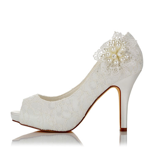WR-370-12L Ivory 10cm with 1.5cm Platform Bridal Shoes with Big flowers