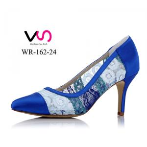WR-162-24 Royal Blue Lace pointy shoe toe evening party shoes