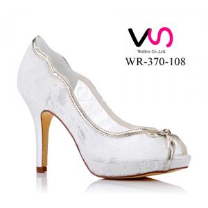 WR-370-108 10cm Heel Height 1.5cm Platform Lace Bridal Shoes