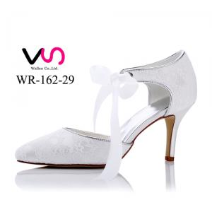 WR-162-29 Lace style with ribbon bow by 8cm heel height Bridal Shoes
