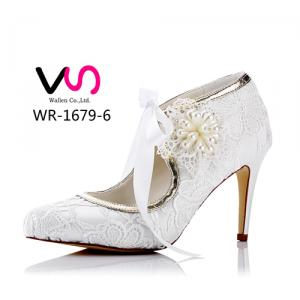 WR-1679-6 Ivory Color Bridal Shoes with flower details