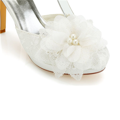 10cm High Heel with Platform Ivory Colour
