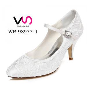 WR-98977-4 Ivory Color Lace Material Mary-Jane Wedding Bridal Shoes
