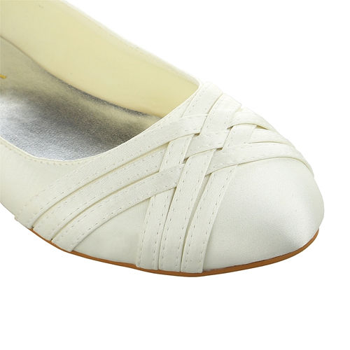 New womens lace pearl wedding bridal ivory white ballerina flat pumps shoes