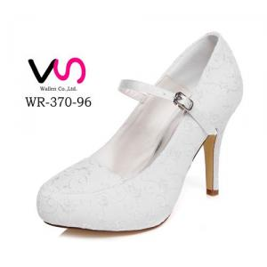 WR-370-96 10cm Heel Height With Platform Embroidery Lace Women Bridal Shoes Mary-Jane Style With Silver Buckle