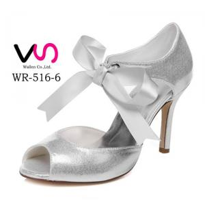 WR-516-6 Silver Color Shinny Nice Party Shoes Wedding Bridal Shoes