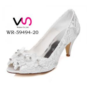 WR-59494-20 Ivory Color Sunflower Lace Wedding Bridal Shoes With Middle Heel