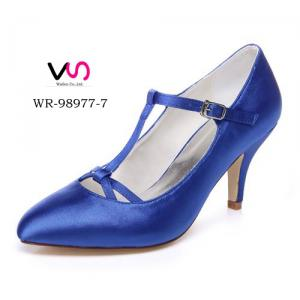 WR-98977-7 Royal Blue Color Pump Pointy Shoe Toe Mary-Jane Wedding Bridal Shoes