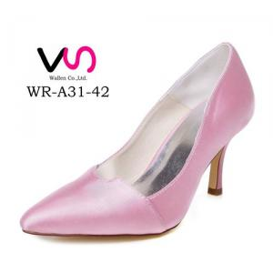 WR-A31-42 8cm Pink Color Poity Shoe Toe Pump Comfortable Women Bridal Shoes Flower Girl Shoes Bridemaid Shoes