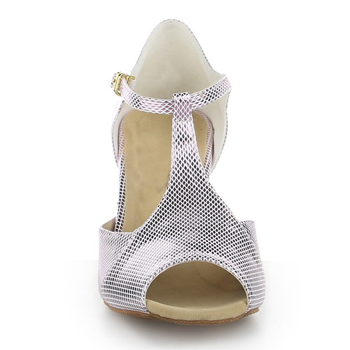 Silver color T-bar women dance shoes