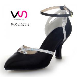 Black color professional dance shoes for ladies