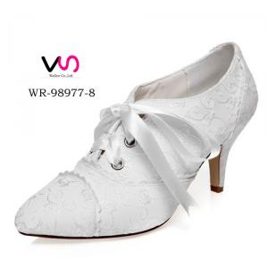 WR-98977-8 Ivory Color Embroidery Pump Bootie Women Wedding Bridal Shoes wit Bow