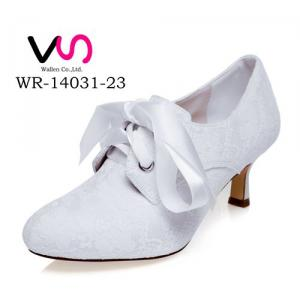 WR-14031-23 Ivory Color Embroidery Lace  Pump Closed shoe toe Bridal Shoes