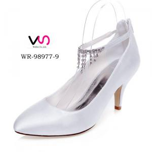 WR-98977-9 7.5cm Rhinestones Chian Ivory Color Wedding Bridal Shoe with Pointy Shoe Toe