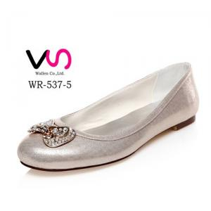 WR-537-5 Light Gold Color Flat Ballet Bridal Shoes