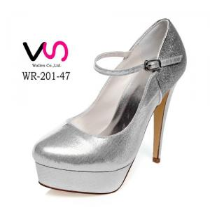 WR-201-47 Silver Color Shinny Mary-Jane Super High Heel 13 cm With Platform Wedding Bridal Shoes Women Porm Party Shoes