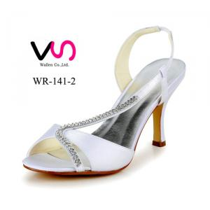 White bridal wedding high heel shoes made in China