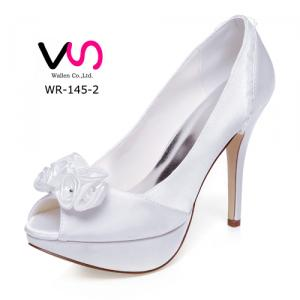 WR-145-2 12cm heel height with platform with small flower details bridal shoes