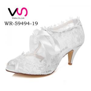 WR-59494-19 6.8cm Ivory Color Nice Lace Bootie Wedding Bridal Shoes with Bow
