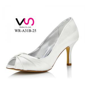 WR-31B-25 8cm Heel Height Dyeable Satin Material White Color Bridal Shoes