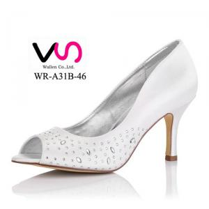 8cm Heel Height White Color Rhinestones Cheap Dyeable Satin Women Wedding Dress Shoes Bridal Shoes Made in China