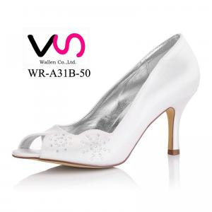8cm Heel Height Dyeable Satin Wedding Bridal Shoes in White Color Made in China