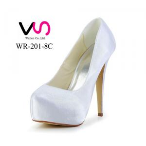 High heel 12cm simple design dyeable satin bridal shoes