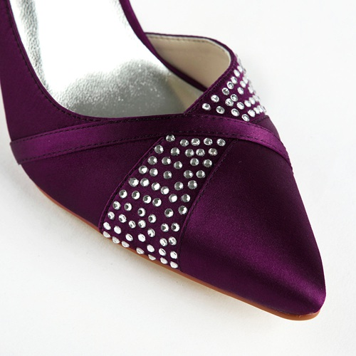 Strong heel nice purple color wedding shoes for bride