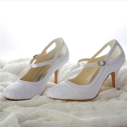 8cm middle heel Mary Jane style pump bridal shoes