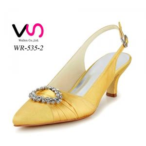 4cm wide board pointy shoe toe yellow color for after wedding party bridemate shoes